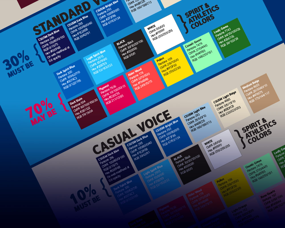 CSUSM brand style guide - fonts and colors
